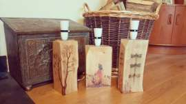 Handmade Wooden Log Lamps